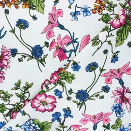 Satin lycra gabardine fabric - white Fleurs sauvages x 10cm