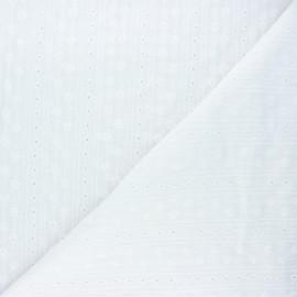Scalloped openwork cotton voile fabric - white Alice x 10cm