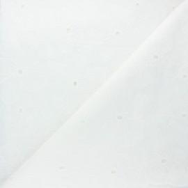 Scalloped openwork cotton voile fabric - raw Emma x 10cm