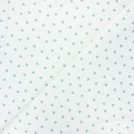 Cretonne cotton fabric - white/eucalyptus Love x 10 cm