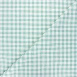 Tissu coton cretonne Mini vichy - vert eucalyptus x 10cm