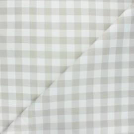 Cretonne cotton fabric - greige Vichy x 10 cm