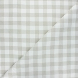 Tissu coton cretonne Vichy - grège x 10cm
