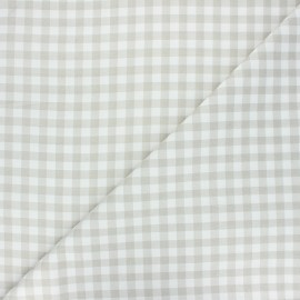 Cretonne cotton fabric - greige Mini vichy x 10 cm