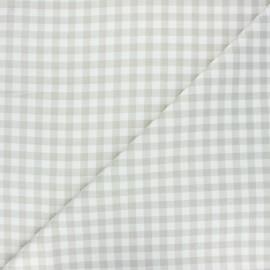 Tissu coton cretonne Mini vichy - grège x 10cm