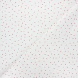 Tissu coton cretonne Starlight - blanc/vieux rose x 10cm