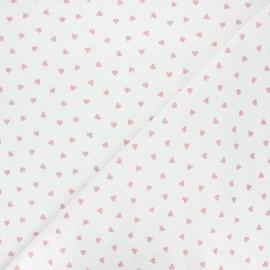 Cretonne cotton fabric - white/old pink Love x 10 cm