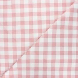 Tissu coton cretonne Vichy - vieux rose x 10cm