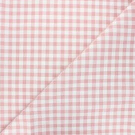 Tissu coton cretonne Mini vichy - vieux rose x 10cm