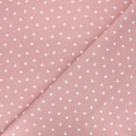 Cretonne cotton fabric - old pink Love x 10 cm