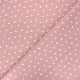 Tissu coton cretonne Love - vieux rose x 10cm
