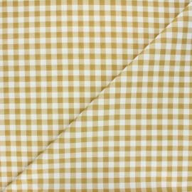 Cretonne cotton fabric - ochre Mini vichy x 10 cm