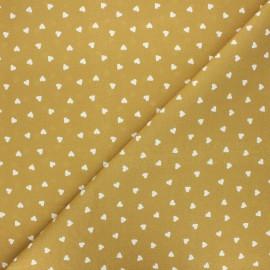 Cretonne cotton fabric - ochre Love x 10 cm
