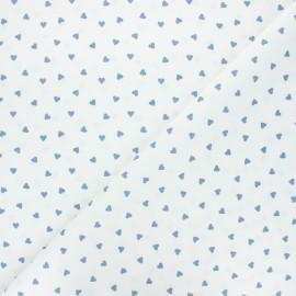 Tissu coton cretonne Love - blanc/bleu houle x 10cm