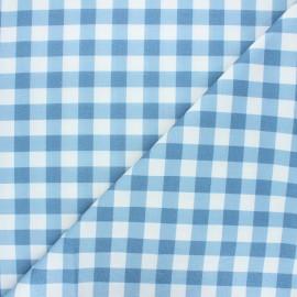 Tissu coton cretonne Vichy - bleu houle x 10cm