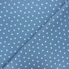Cretonne cotton fabric - swell blue Love x 10 cm