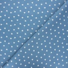 Tissu coton cretonne Love - bleu houle x 10cm
