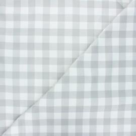 Tissu coton cretonne Vichy - gris clair x 10cm
