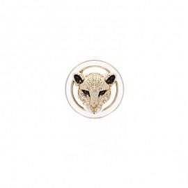 Metal button - golden Savage panther