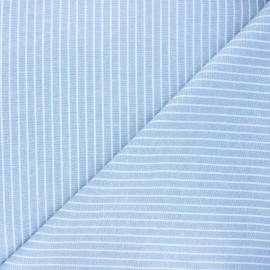 Chambray linen and viscose fabric - light blue Quiberon x 10 cm