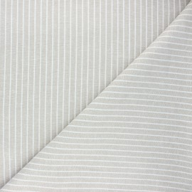 Tissu lin viscose chambray Quiberon - grège x 10 cm