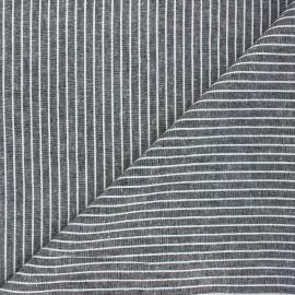 Chambray linen and viscose fabric - black Quiberon x 10 cm
