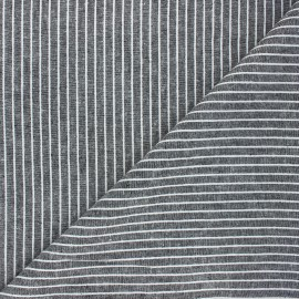 Tissu lin viscose chambray Quiberon - noir x 10 cm