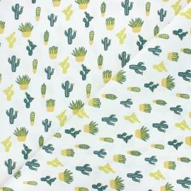 Cretonne cotton fabric - green Cactées x 10cm