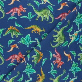 Tissu sweat léger Dinosaur life - bleu marine x 10cm