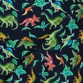 French terry fabric - black Dinosaur life x 10cm