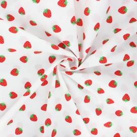 Poplin cotton fabric - white Petites fraises x 10cm