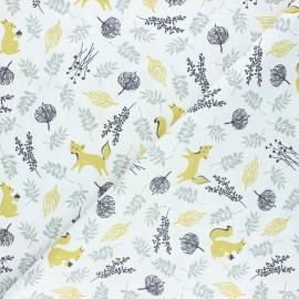 Cretonne cotton fabric - green Bosque animales x 10cm