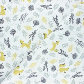 Tissu coton cretonne Bosque animales - vert x 10cm