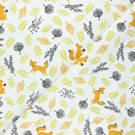 Cretonne cotton fabric - orange Bosque animales x 10cm
