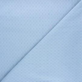 Tissu voile de coton brodé Adèle - bleu clair x 10cm
