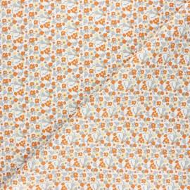 Cretonne cotton fabric - orange Baya x 10cm