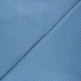 Embroidered cotton voile fabric - swell blue Adèle x 10cm