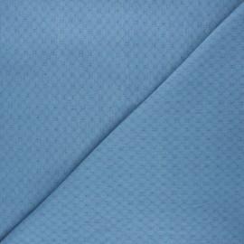 Tissu voile de coton brodé Adèle - bleu houle x 10cm