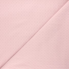 Embroidered cotton voile fabric - water pink Adèle x 10cm