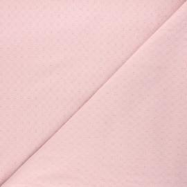 Tissu voile de coton brodé Adèle - eau de rose x 10cm