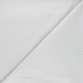 Embroidered cotton voile fabric - light grey Adèle x 10cm