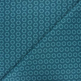 Tissu coton cretonne Minae - bleu pétrole x 10cm