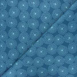 Cretonne cotton fabric - blue Floralis x 10cm