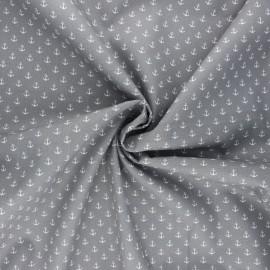 Poppy poplin cotton fabric - light grey Marine x 10cm