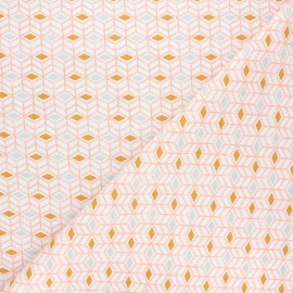 Cretonne cotton fabric - orange Sylt x 10cm