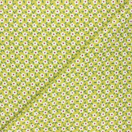 Cretonne cotton fabric - green Seventies flower x 10cm