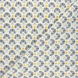 Cretonne cotton fabric - white Karaba x 10cm