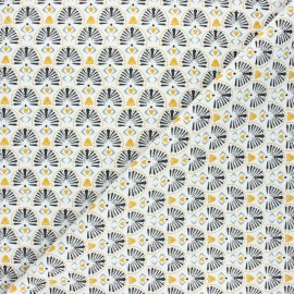 Tissu coton cretonne Karaba - blanc x 10cm
