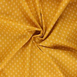 Tissu coton popeline Poppy Marine - jaune moutarde x 10cm