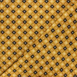 Cretonne cotton fabric - yellow mustard Tribe x 10cm